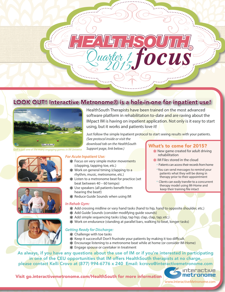 Healthsouth physical therapy - 2015
